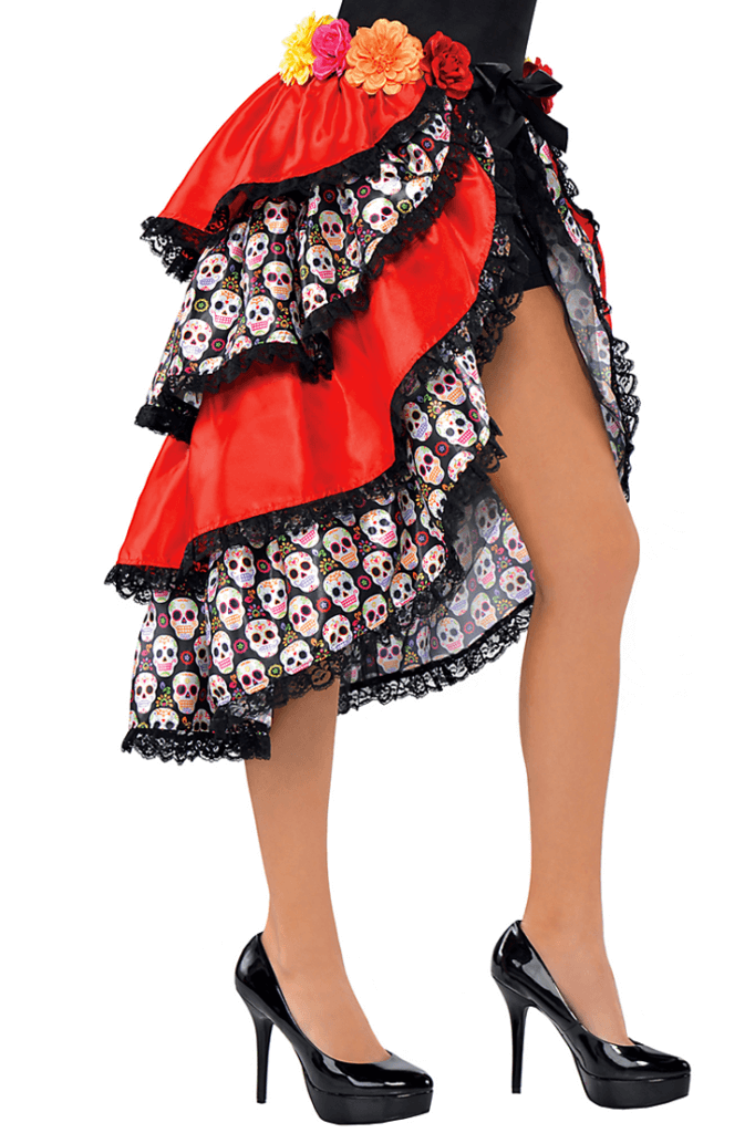 I'm super excited about this costume for my party. Cute tie on bustle. Dia de los Muertos Party Resources | Halfpint Design - Halloween party, party decorations, party clothes