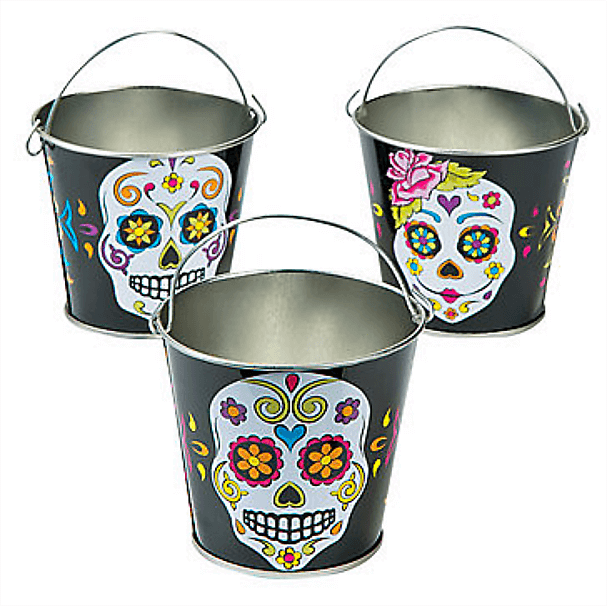 Sugar Skull Pails for perfect Day of the Dead party favors. Dia de los Muertos Party Resources | Halfpint Design - Halloween party, party decorations, party clothes