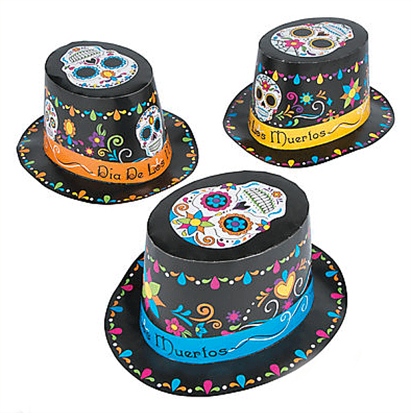 Day of the Dead paper hats are a perfect quick costume add for guests. Dia de los Muertos Party Resources | Halfpint Design - Halloween party, party decorations, party clothes