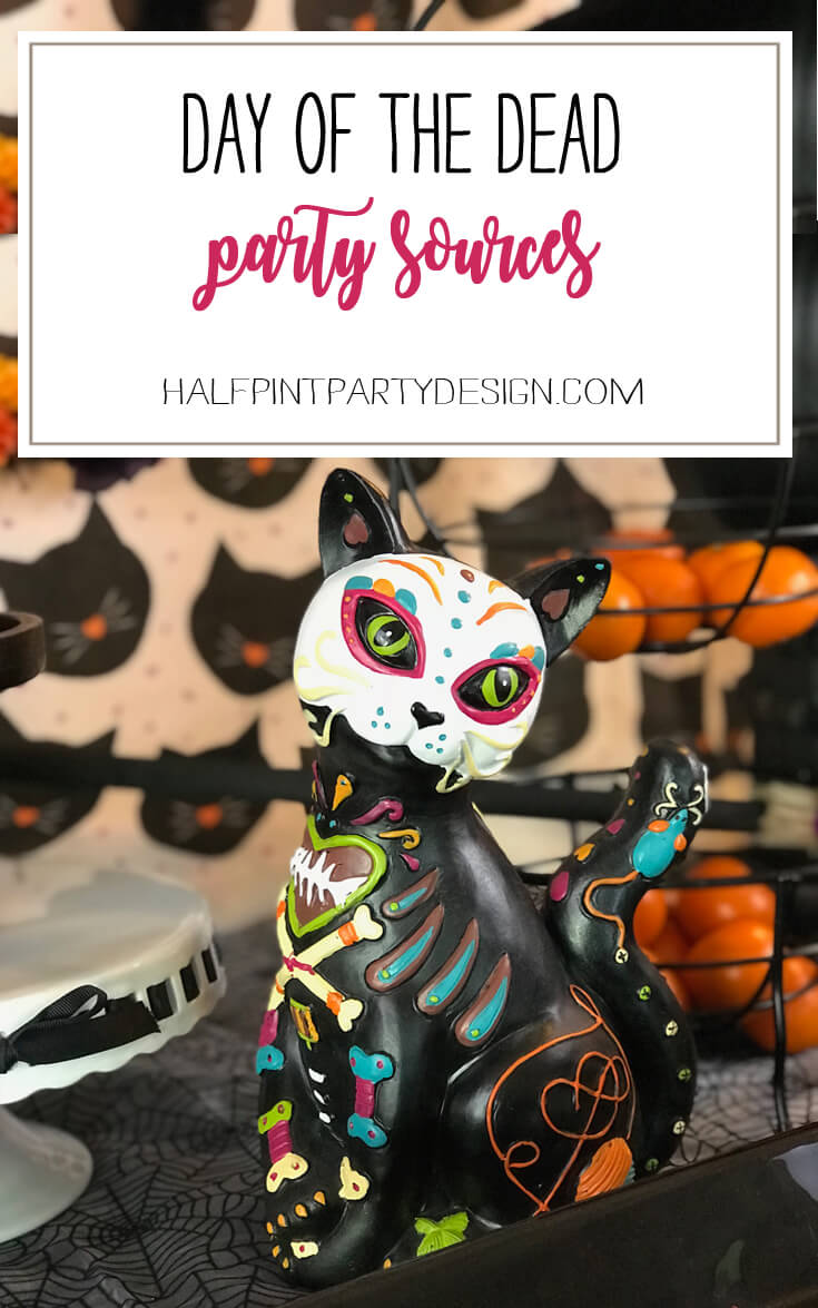 Day of the Dead is a new favorite of mine! Having a party and here are all the resources I loved! Dia de los Muertos Party Resources | Halfpint Design - Halloween party, party decorations, party clothes