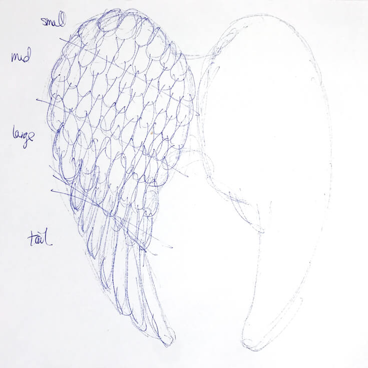 Angel wings concept sketch. I created angel wings Cricut Explore Air for a Peace on Earth holiday display. Check out how I did it and grab the feather svg files to make some magic for your home! Holiday Angel Wing Tutorial at Halfpint Design. Great for Christmas, Easter, Halloween, Baby Showers, and general home decor.