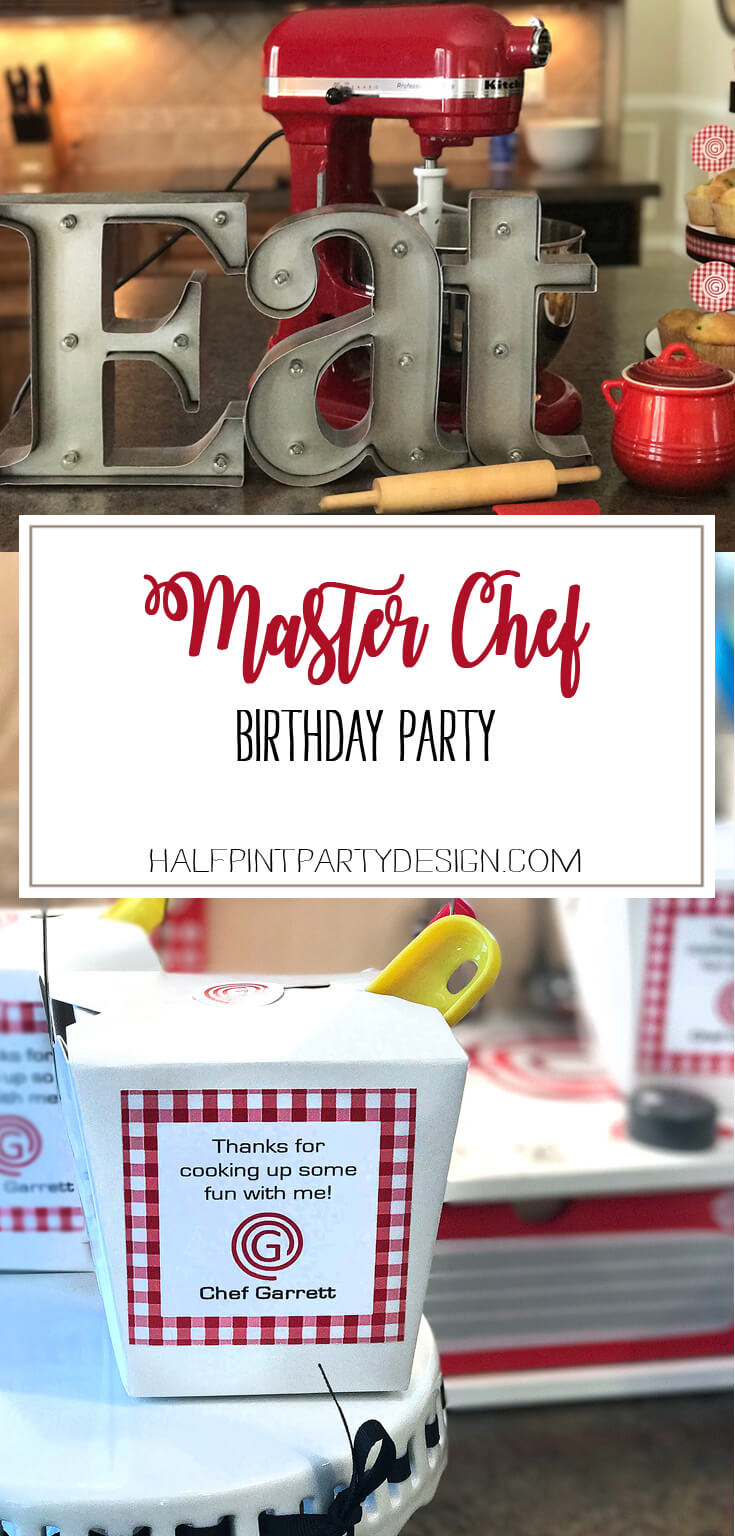 What's better than a birthday party? A party where you get to make your own pizza and decorate cupcakes of course! Check out all the details of this Master Chef Junior Party at Halfpint Design. This is great for a cooking party, pizza birthday party, and chef party.