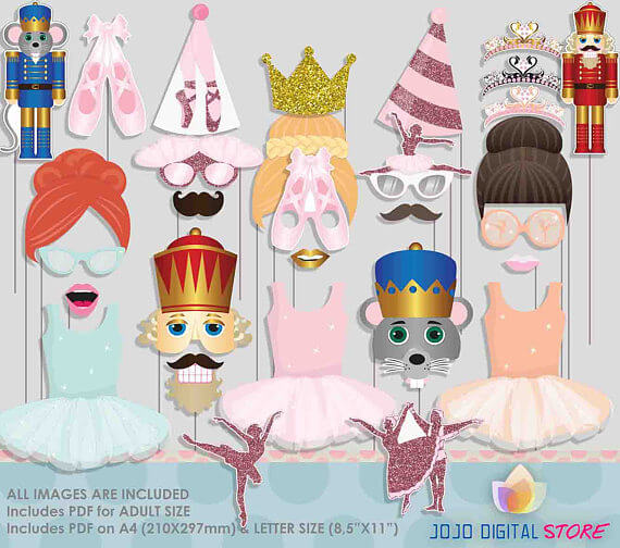 Looking for a great winter birthday idea? Or holiday party theme for your friends and family? A Nutcracker ballet party is the perfect theme and I've got a list of 26 amazing products that will up your party game! This photobooth prop set isn't all pastel but it's the best collection of Nutcracker characters I found. Pretty Pastel Nutcracker Ballet Party Ideas on Halfpint Design. Ballet party, Christmas party, Nutcracker party.