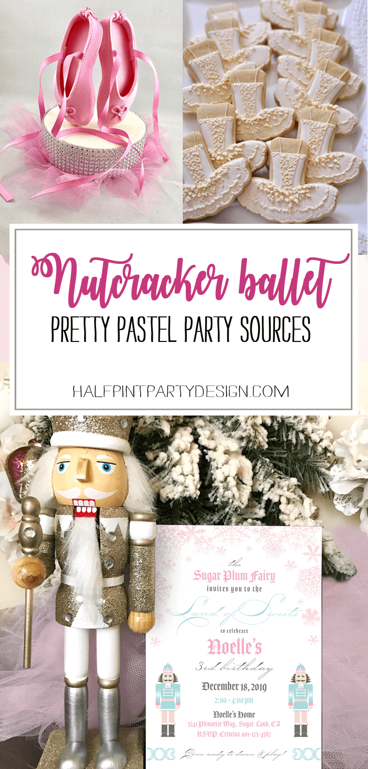 Looking for a great winter birthday idea? Or holiday party theme for your friends and family? A Nutcracker ballet party is the perfect theme and I've got a list of 26 amazing products that will up your party game! Pretty Pastel Nutcracker Ballet Party Ideas on Halfpint Design. Ballet party, Christmas party, Nutcracker party.
