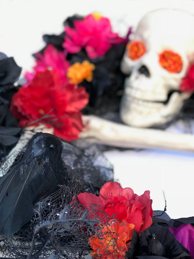 DIY Wreath for a Coco viewing party. Day of the Dead Holiday Wreath Transformation from Halfpint Design. Day of the Dead party, Dia de los Muertos decor, Decor DIY