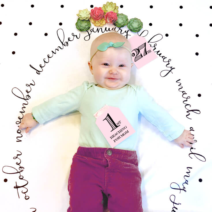 """Baby Milestone Blanket photo backdrop, Baby girl celebrating her new skill, tag with 1st """"Reaching for Mom"""". Halfpint Design"""