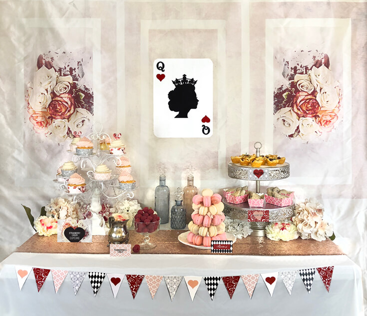 Dessert table set for a Queen of Hearts Luncheon