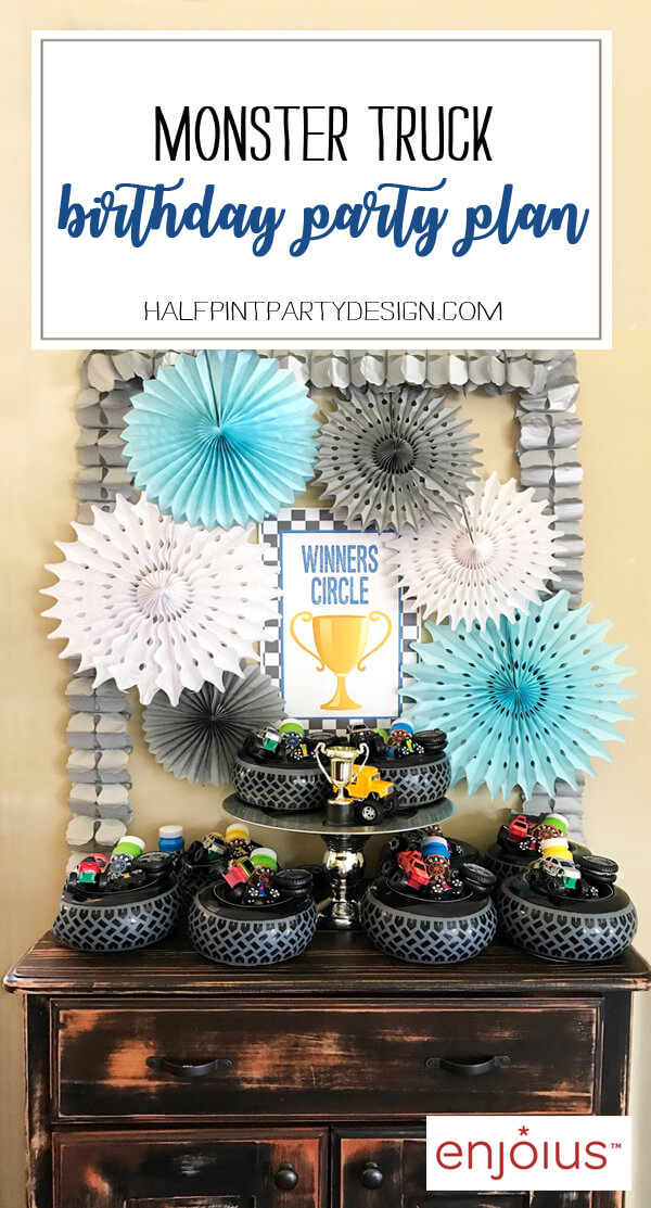 Monster Truck Birthday Party Winner's Circle favor table. Monster Truck Party Plan now on Enjoius created by Halfpint Design.