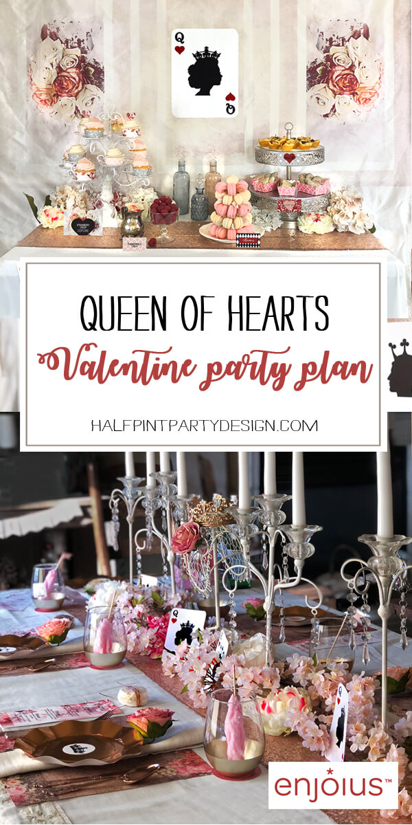 A Queen of Hearts Valentine's party plan is the perfect way to set a romantic mood. Teeming with royal details reminiscent of Marie Antoinette. Perfect for a Valentine's Day Party, Bachelorette Party, Bridal Shower, or even an adult birthday party! Styled by Halfpint Design for Enjoius.