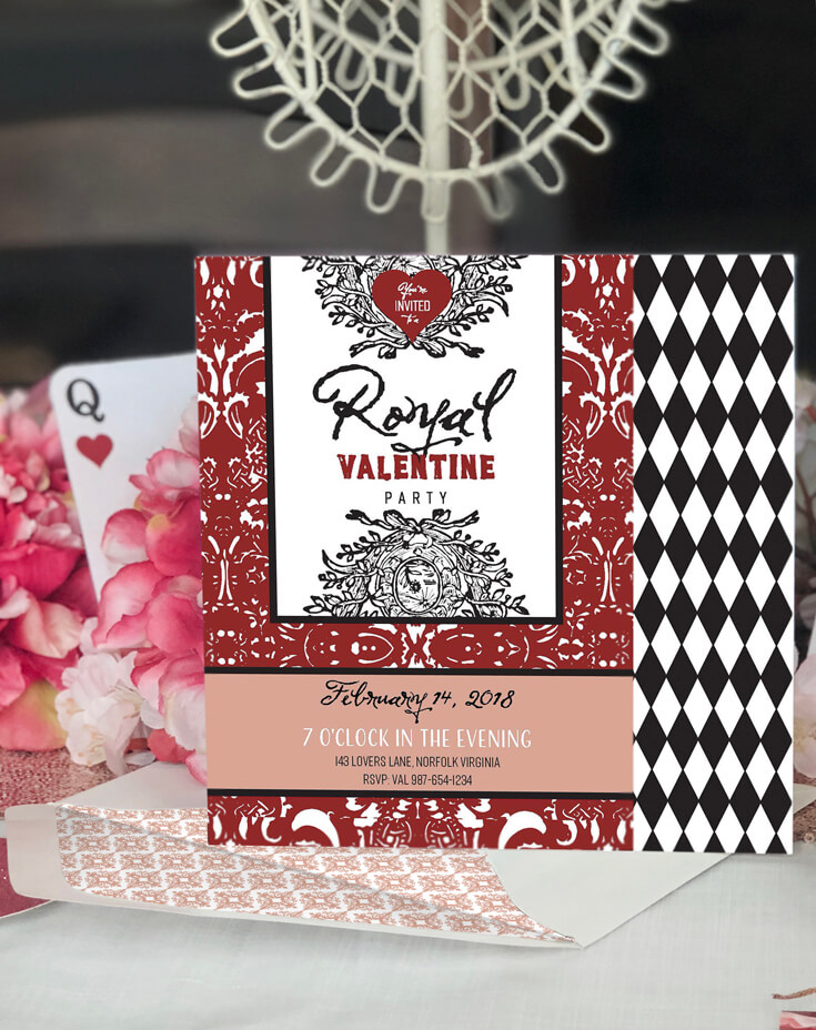 Summon your Valentine guests in style with this Royal Valentine Party Invitation. A Queen of Hearts Valentine's party plan is the perfect way to set a romantic mood. Teeming with royal details reminiscent of Marie Antoinette. Perfect for a Valentine's Day Party, Bachelorette Party, Bridal Shower, or even an adult birthday party! Styled by Halfpint Design for Enjoius.