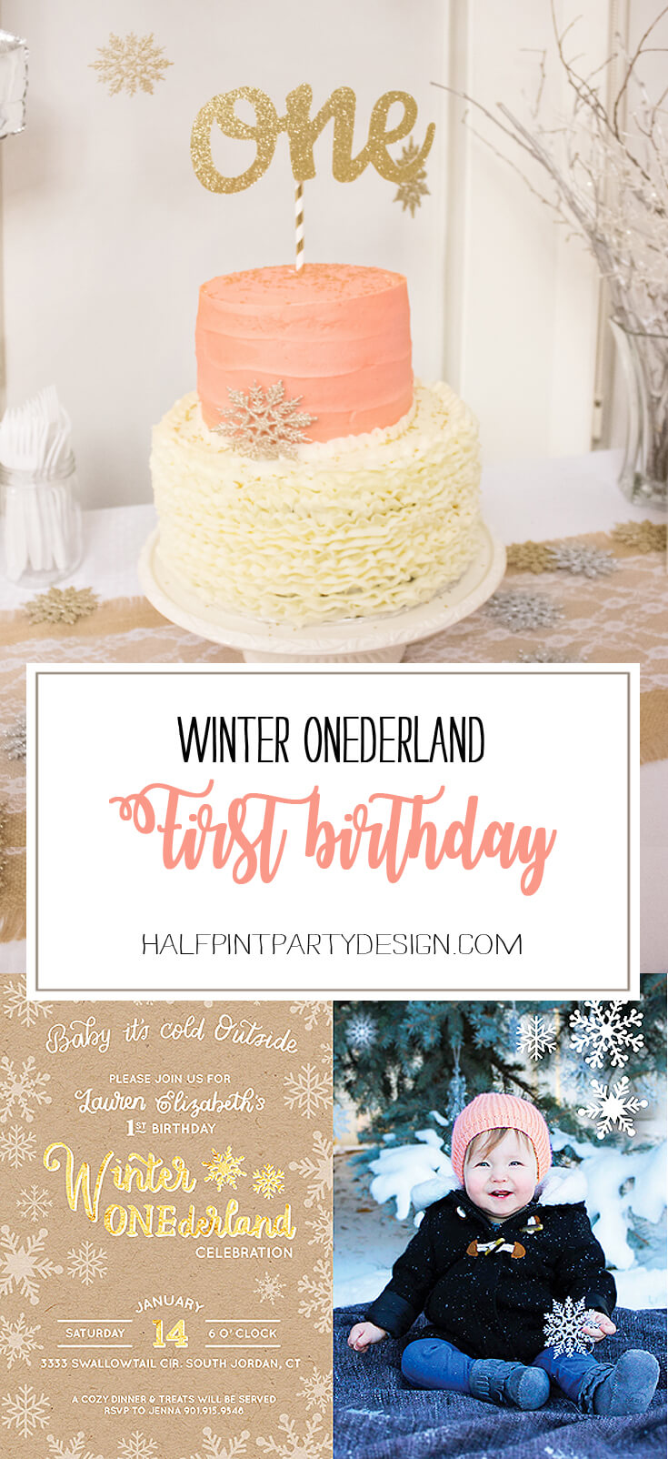 Peachy Winter Onederland First Birthday Party Parties With A Cause Funny Birthday Cards Online Fluifree Goldxyz