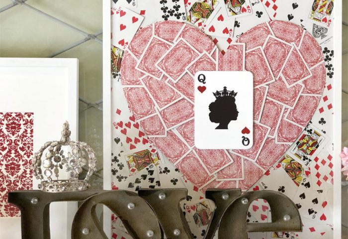 Marquee letters spell LOVE. Queen of hearts artwork. Romantic Valentine's Day Mantel Decor on Halfpint Design.