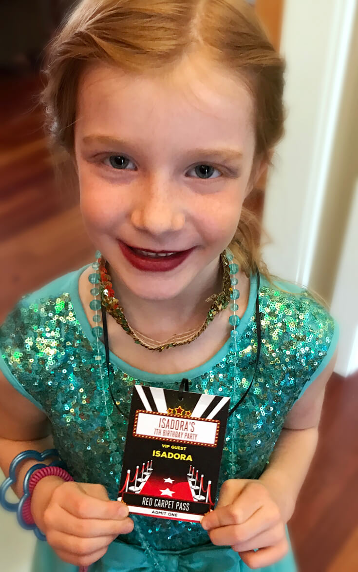 Birthday girl. Movie time VIP backstage passes gained entrance to the family room for a Movie Star Party. Halfpint Design. Movie party, Oscar party, Rock Star party ideas.