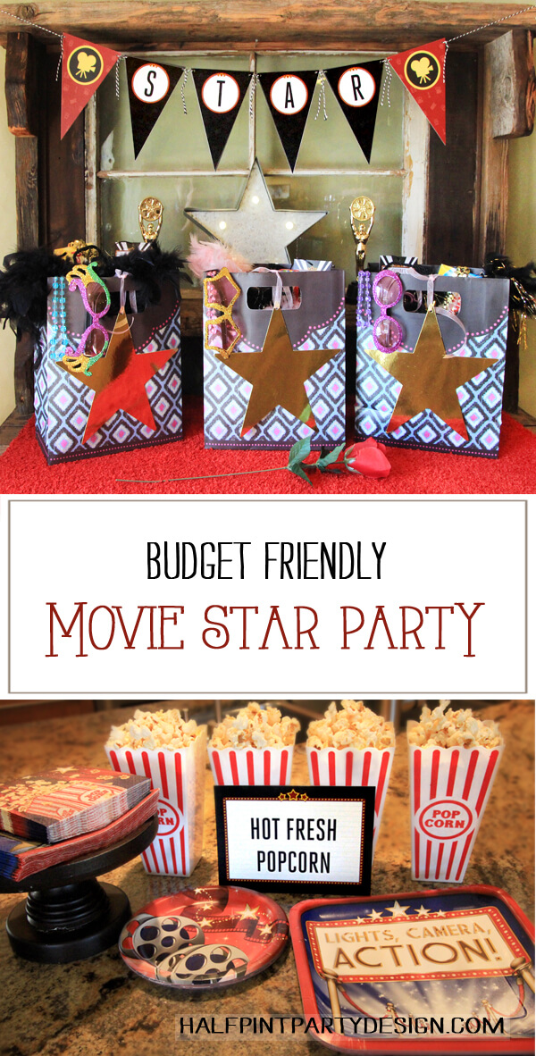 Budget Friendly Movie Star Party. Party favors, and movie party treats. Halfpint Design - Oscar Party, Movie Party, Rock Star