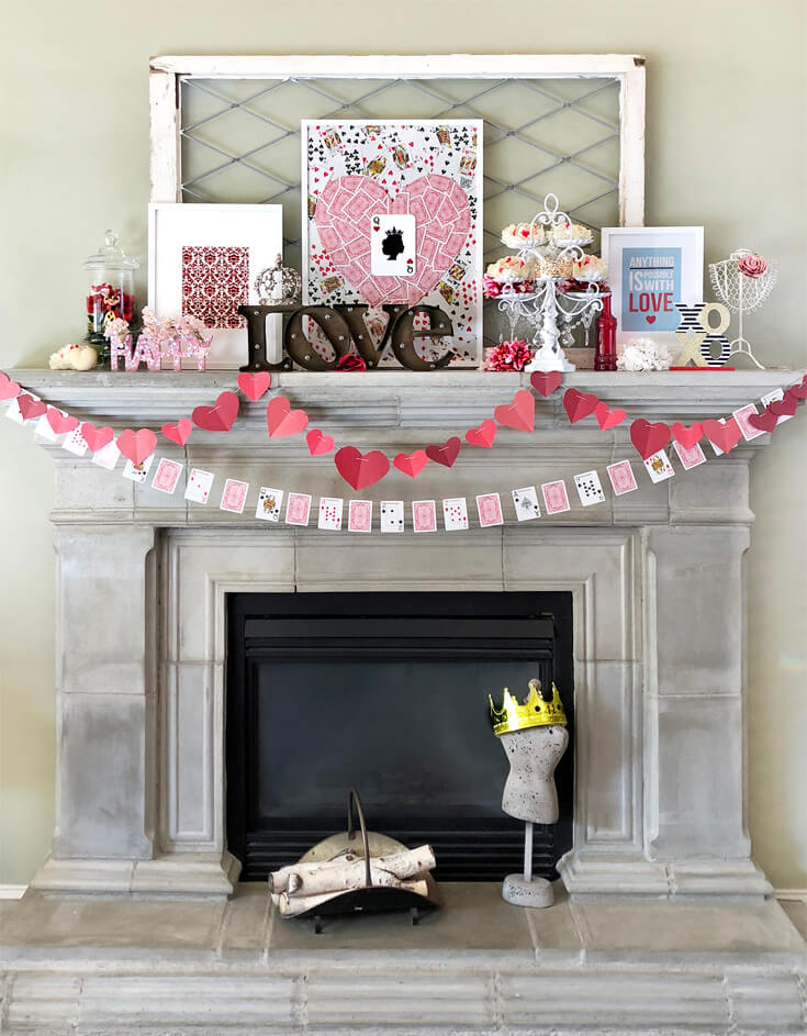 Full February mantel design. Heart and playing card garlands. Queen of hearts artwork. Romantic Valentine's Day Mantel Decor on Halfpint Design.