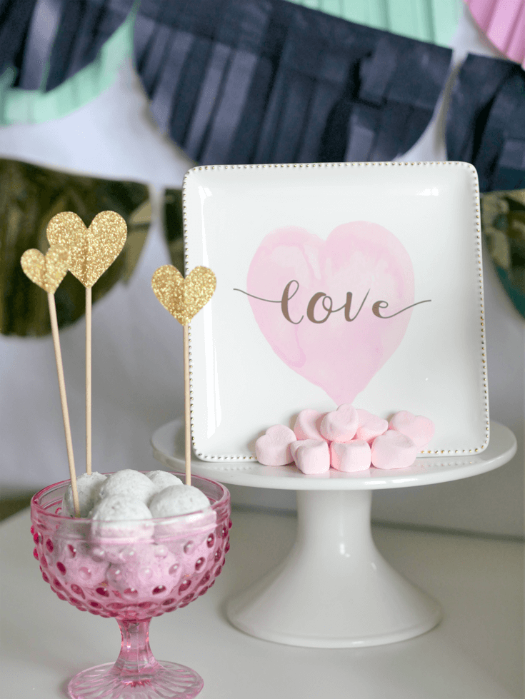 Gold Heart picks in donut holes. Simple holiday upgrade. Last Minute Valentines Day Party Food Ideas on Halfpint Design. Red food