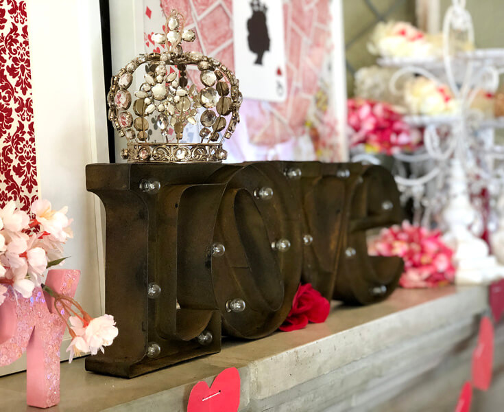 Marquee letters spell LOVE with a jeweled crown. Romantic Valentine's Day Mantel Decor on Halfpint Design.