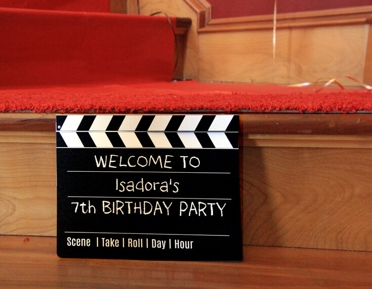 Welcome to the movie star party! Movie director's clapboard sign to welcome guests. Halfpint Design. Movie party, Oscar party, Rock Star Party ideas.