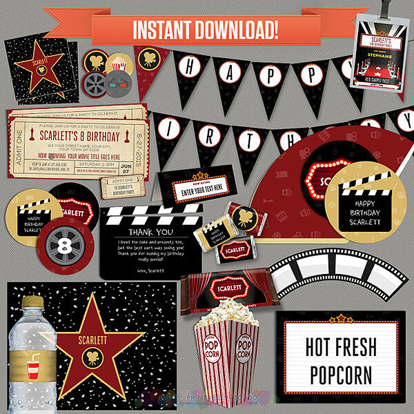 Movie star party instant download, party printables. Perfect for a movie party, Oscar party, or even a rock star party. on Halfpint Design