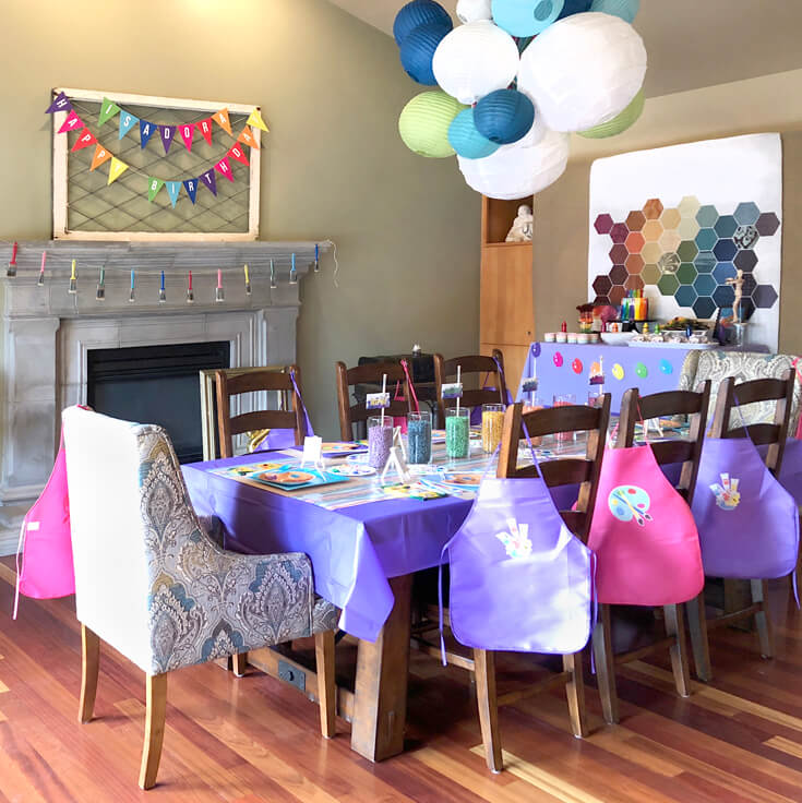 Whole room decor for an Art themed birthday party where you can party like Picasso! Halfpint Design. Art party, painting party, rainbow party.