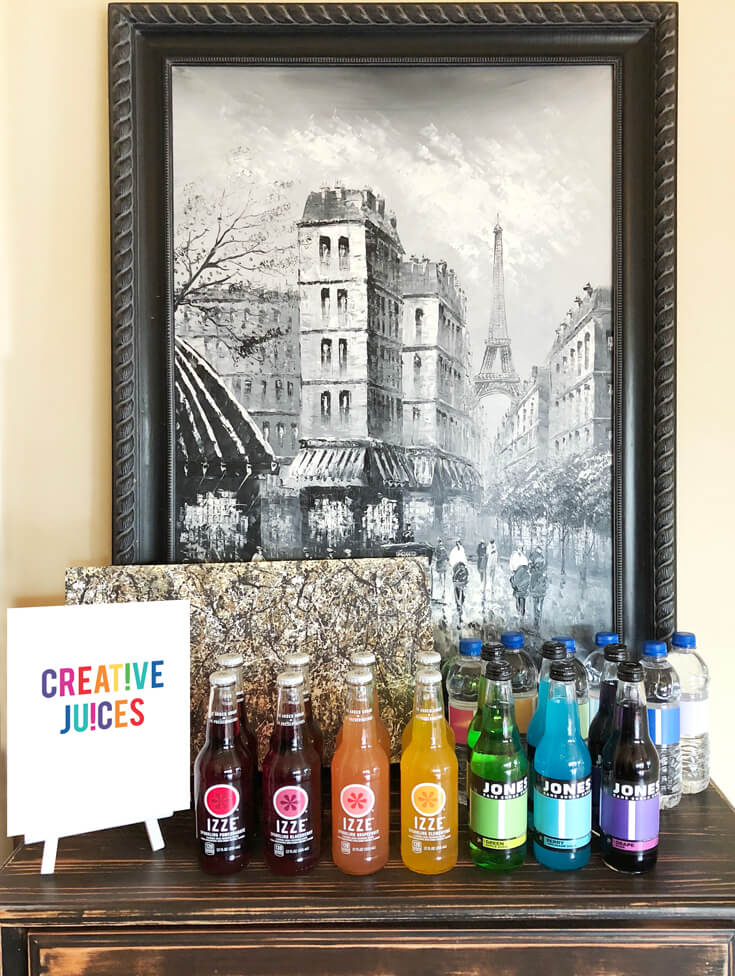 """Creative Juices"" - Not just any drink bar will do for an Art themed birthday party where you can party like Picasso! Halfpint Design. Art party, painting party, rainbow party."