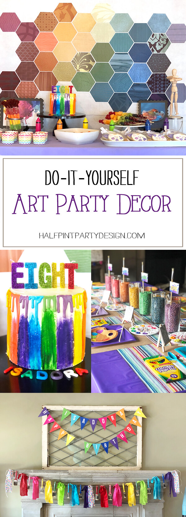 Pinterest collage of 4 di it yourself art party decoration ideas: backdrop, cake letters, centerpiece, and garlands