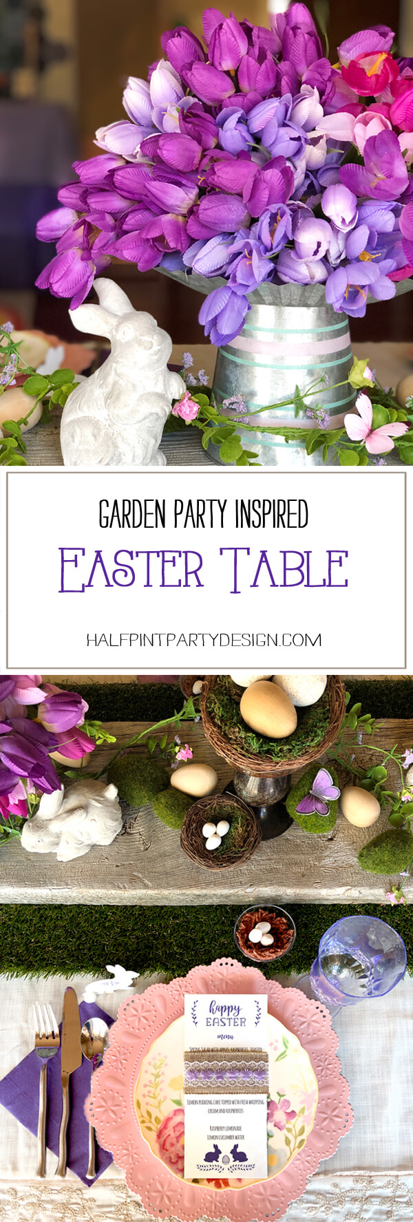 Garden Party Inspired Easter Table with bunny next to vase of purple tulips and pink and purple place setting.