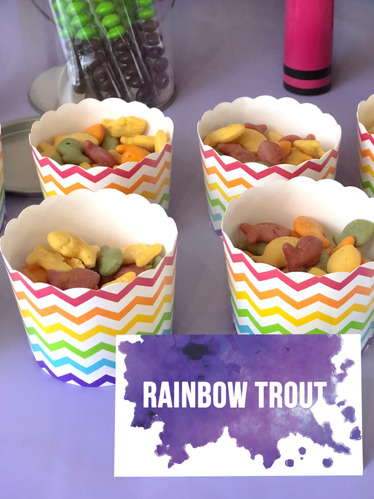 """Rainbow """"trout"""" color goldfish crackers are a perfect snack for an Art themed birthday party where you can party like Picasso! Halfpint Design. Art party, painting party, rainbow party."""