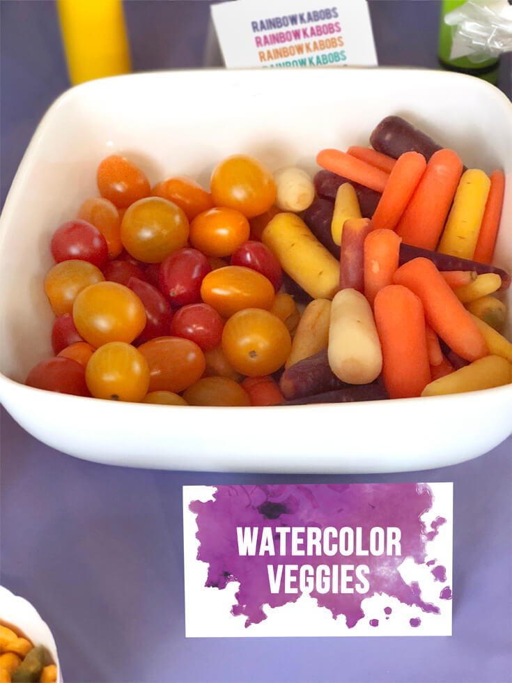Heirloom carrots and tomatoes in all different colors are a great snack for an Art themed birthday party where you can party like Picasso! Halfpint Design. Art party, painting party, rainbow party.