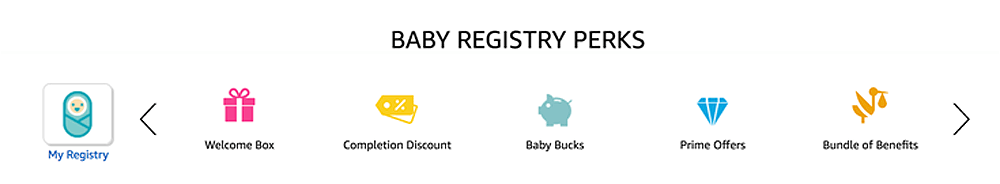 Image listing of Amazon's Baby Registry perks