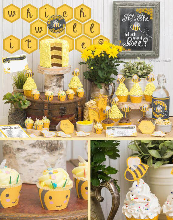 Bee themed party in black and yellow, What will it bee? Gender reveal party ideas