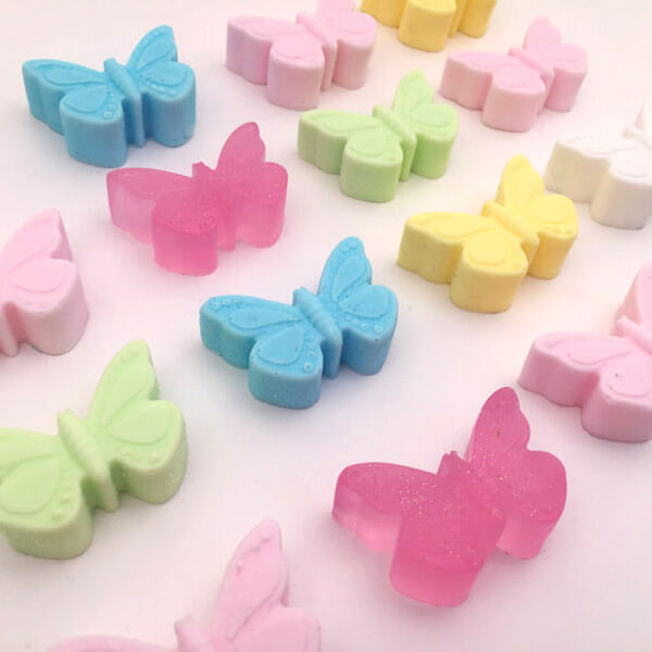Colorful butterfly soaps for an Enchanted Butterfly party.