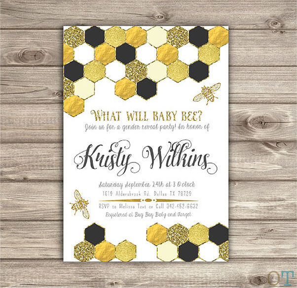 What will baby bee? Gender reveal party invitation in black, yellow, and gold