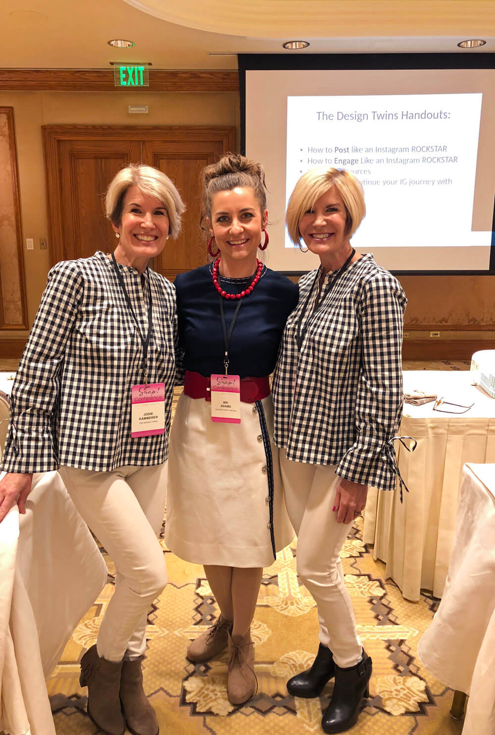 Julie and Jodie of The Design Twins posing with Bri of Halfpint Design after their Instagram course at SNAP Conference