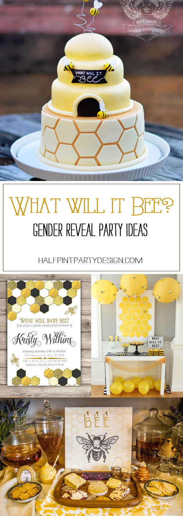 Collage of bee themed party ideas for a What Will It Bee? Gender reveal party