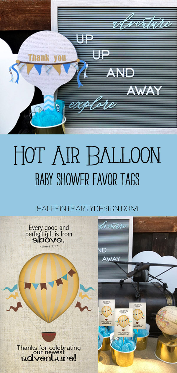 Pinterest collage for a Hot Air Balloon baby shower favor