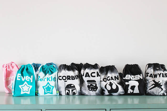 Personalized party bags all lined up for a Star Wars Birthday Party