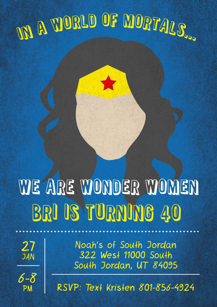 40th birthday invitation for a Wonder Woman Party