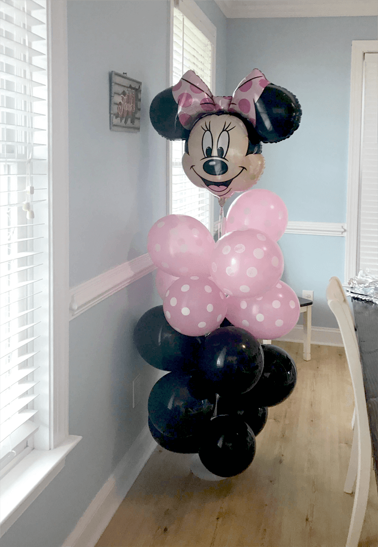 Black and pink balloon tower for Minnie Mouse first birthday party