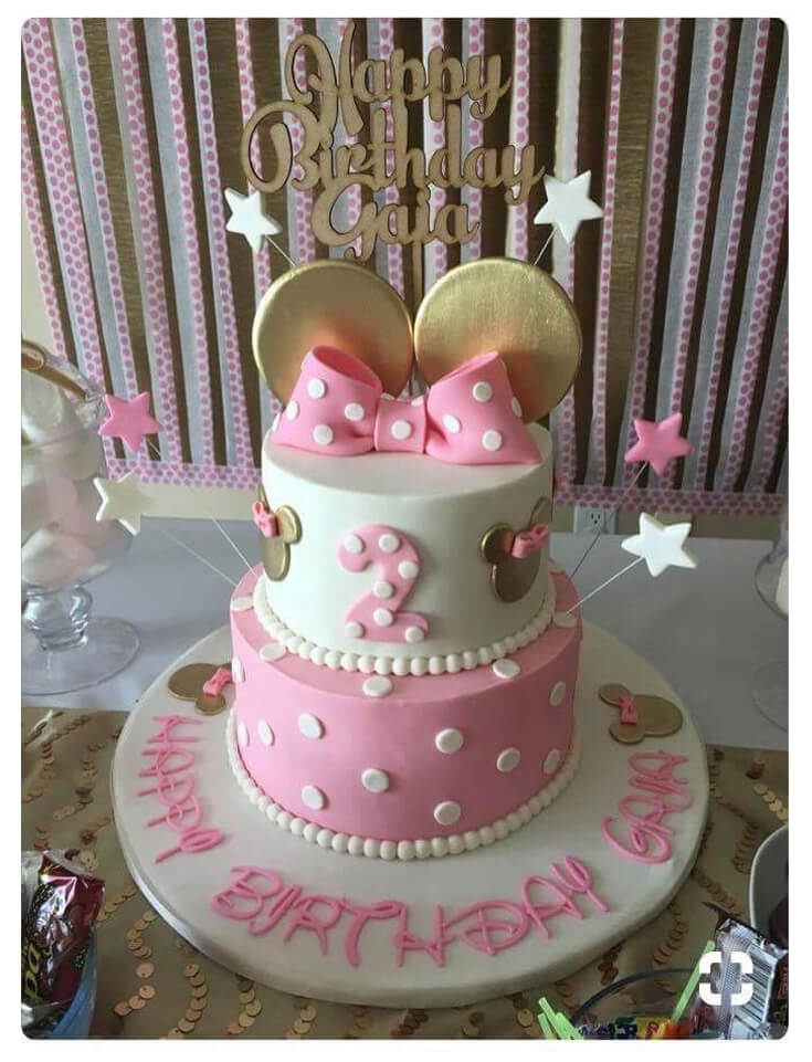 Birthday cake inspiration image for Minnie Mouse first birthday party