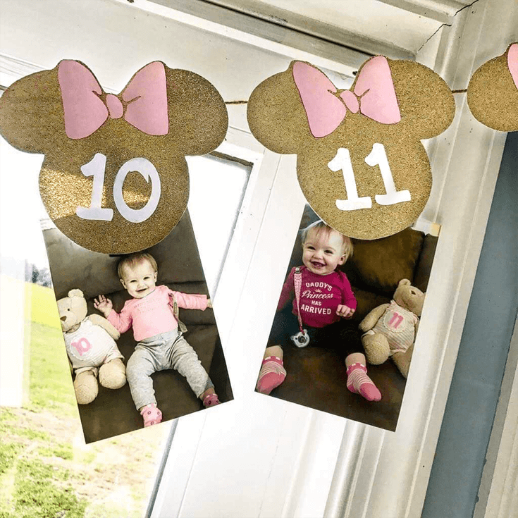 Close up of monthly photo banner for Minnie Mouse first birthday party