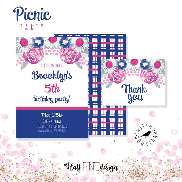 Floral and plaid birthday invitation for a charming summer picnic party