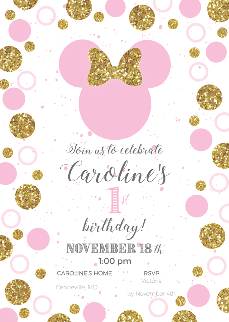 Custom party invitation for Minnie Mouse first birthday party