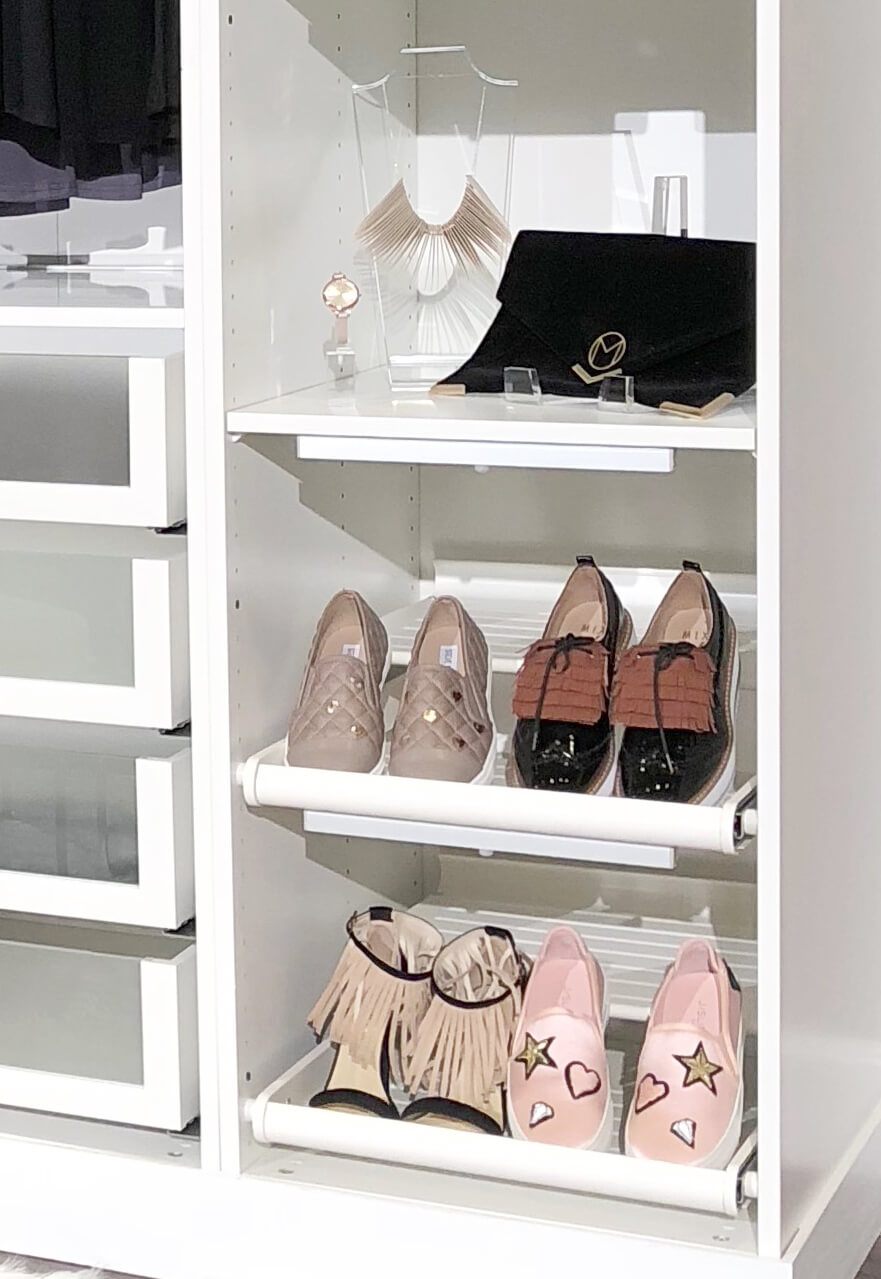Customized shoes and necklace in a closet for Cricut made DIY gift ideas