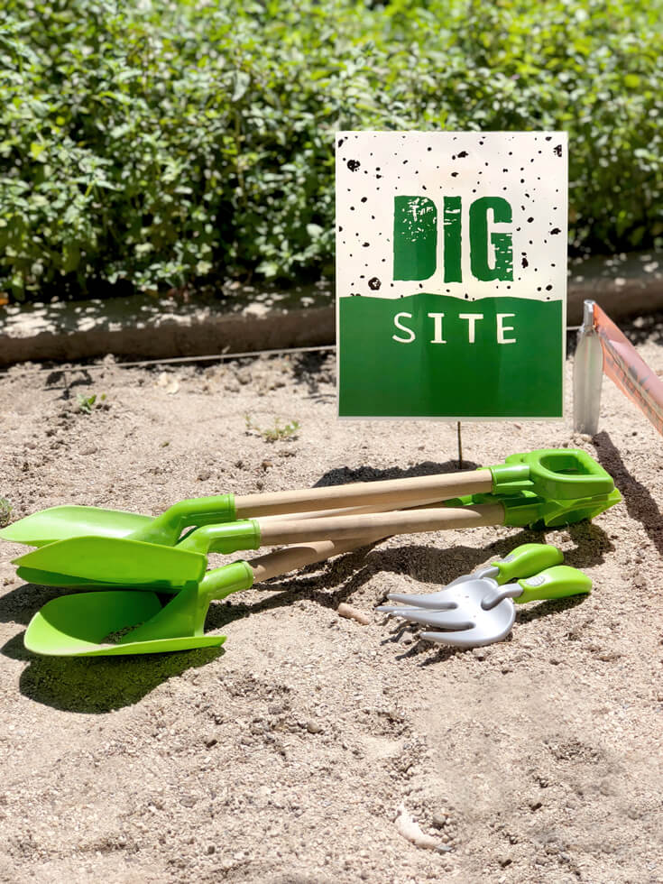 Shovels and rakes for a dino dig party activity