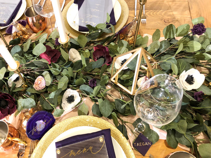 Dinner party or wedding tablescape with crepe paper flowers, eucalyptus leaves and geometric centerpieces Cricut made DIY gift ideas