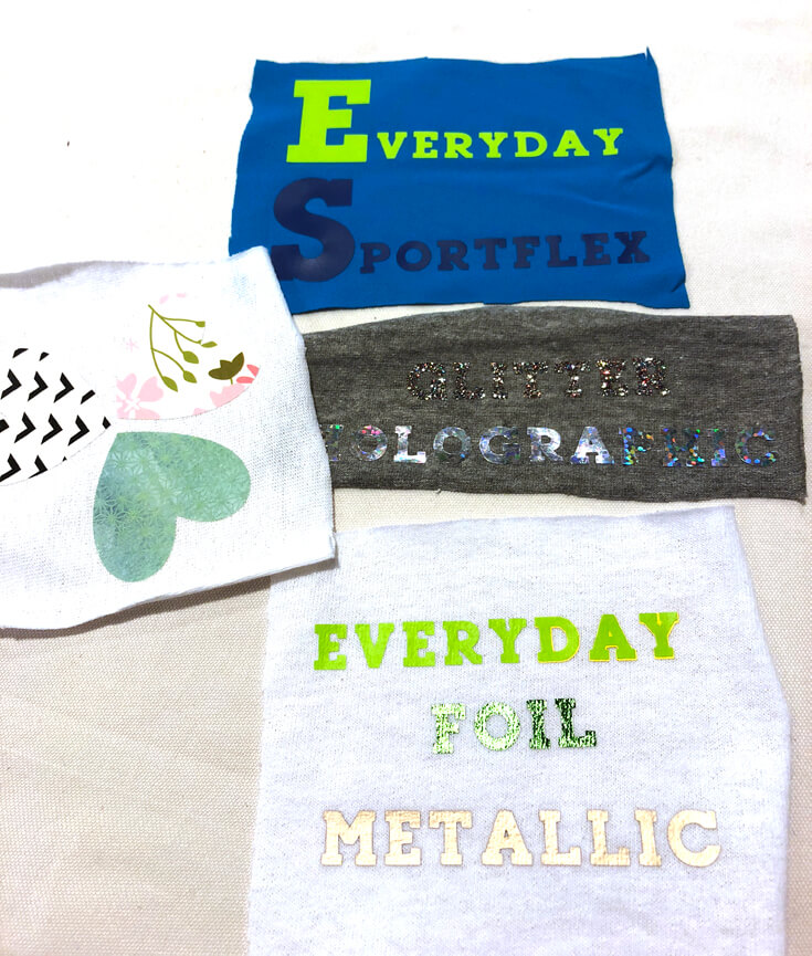 Sample of iron-on vinyl on different fabric swatches at the Cricut Mountain Make-a-thon