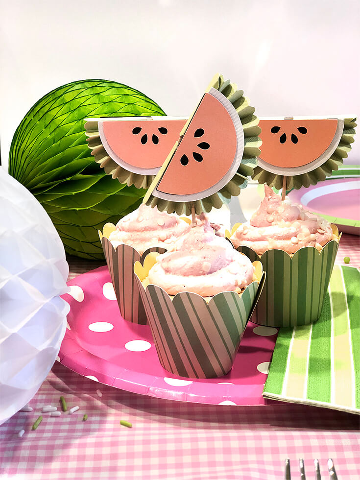 Cute striped cupcake wrapper and watermelon toppers from Cricut Mountain Make-a-thon
