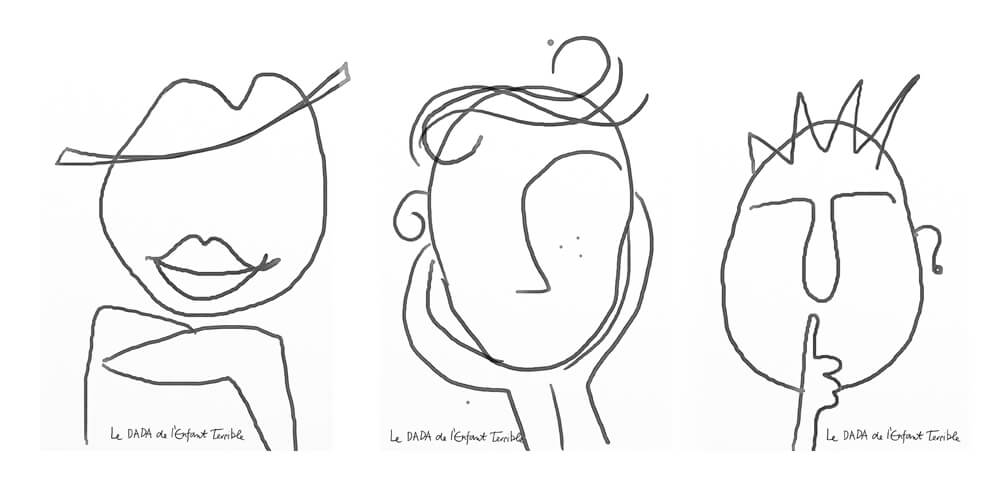 Face sketches as a base for little artists