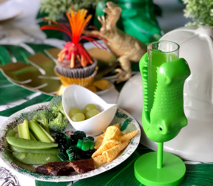 Low sugar party menus can still be fun! Like this prehistoric dinosaur plate